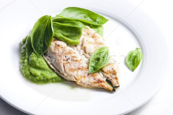 Grelhado cavala manjericão prato ervas refeição Foto stock © phbcz