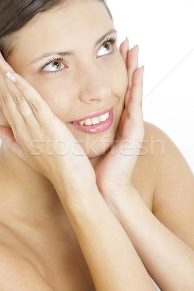 молодые портрет женщину рук лице лицах Сток-фото © phbcz