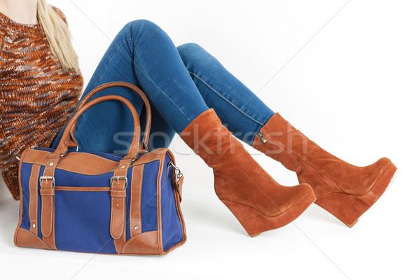 詳細 座って 女性 着用 ファッショナブル プラットフォーム ストックフォト © phbcz