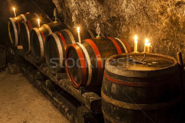 Adega vinho região Eslováquia vela tanque Foto stock © phbcz