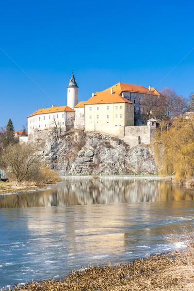 Kale Çek Cumhuriyeti kış seyahat nehir mimari Stok fotoğraf © phbcz