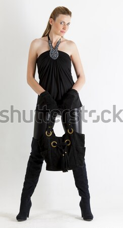 Fiatal nő visel extravagáns ruházat nők fekete Stock fotó © phbcz