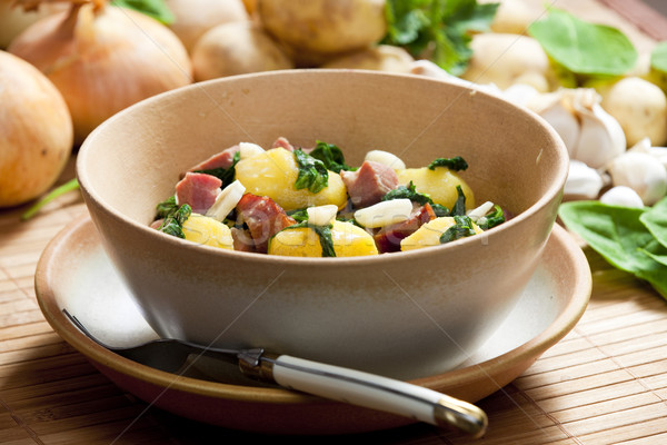 potatoes with smoked meat, spinach and garlic Stock photo © phbcz