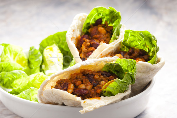 pita bread filled with Mexican mixture Stock photo © phbcz