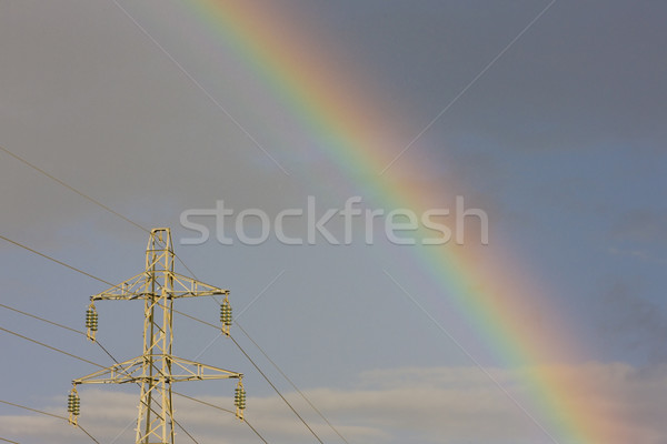 transmission tower with rainbow Stock photo © phbcz