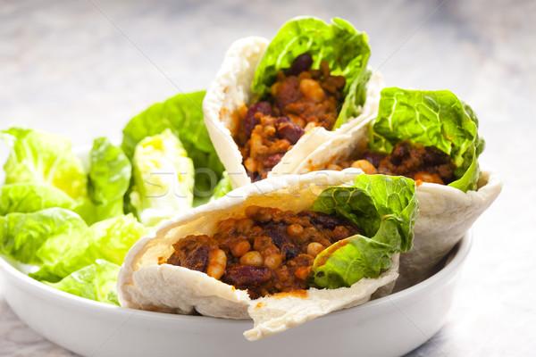 Сток-фото: лаваш · хлеб · мексиканских · смесь · пластина · мяса