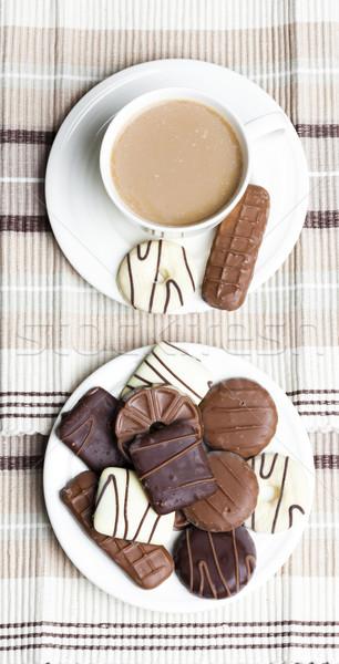 Beker koffie biscuits dessert zoete object Stockfoto © phbcz