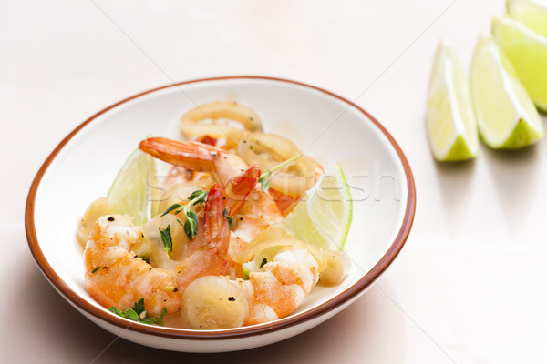 prawns with lime on thyme Stock photo © phbcz