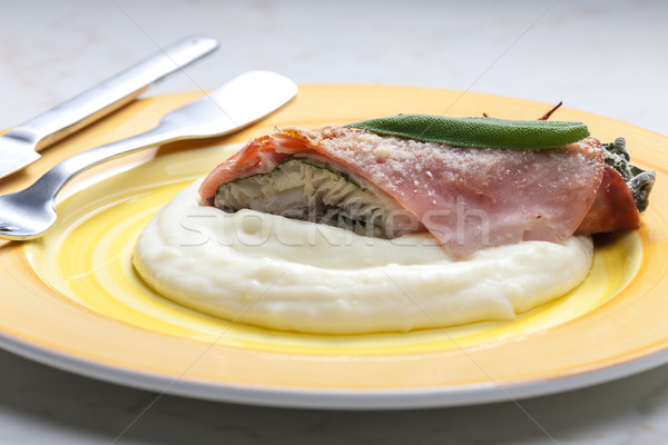 fillet of trout with sage roasted in the Prague Ham with mashed  Stock photo © phbcz