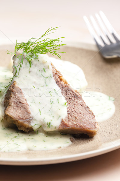 dill sauce with beef meat Stock photo © phbcz
