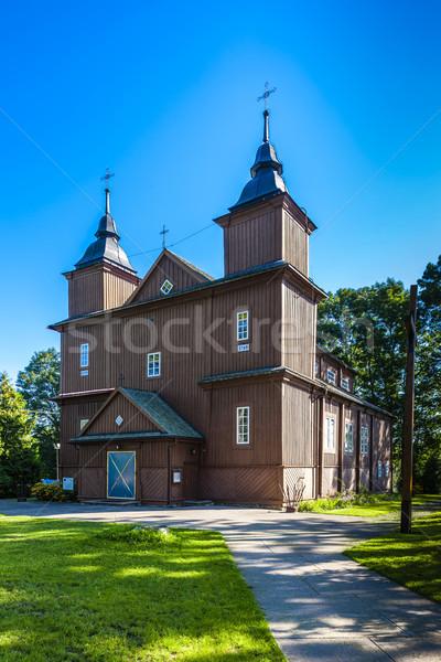 wooden Catholic church in Narew, Podlaskie Voivodeship, Poland Stock photo © phbcz