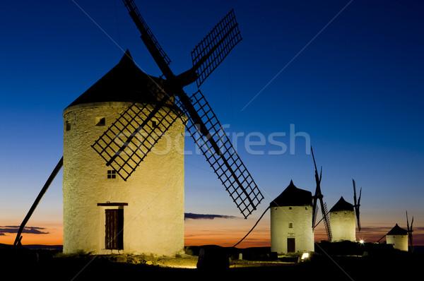 windmills at night, Consuegra, Castile-La Mancha, Spain Stock photo © phbcz