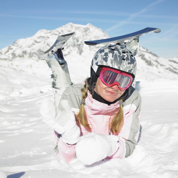 женщину лыжник Альпы гор Франция женщины Сток-фото © phbcz