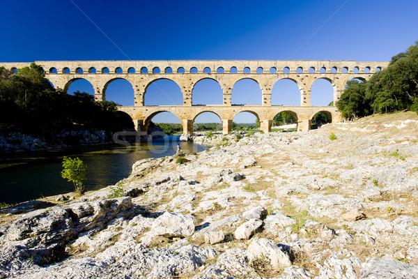Roman aqueduct, Pont du Gard, Languedoc-Roussillon, France Stock photo © phbcz