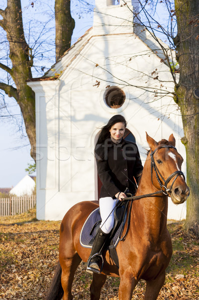 Paardenrug Tsjechische Republiek gebouw vrouwen paard Stockfoto © phbcz
