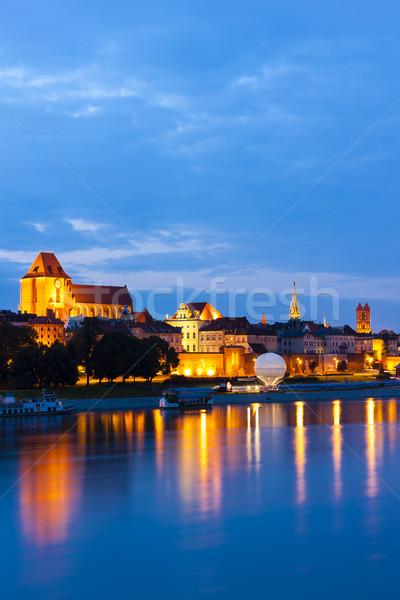 Cidade velha noite Polônia edifício viajar rio Foto stock © phbcz