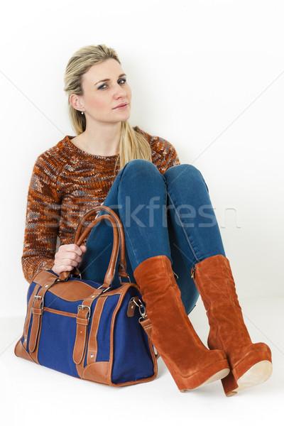 座って 女性 着用 ファッショナブル プラットフォーム ブラウン ストックフォト © phbcz