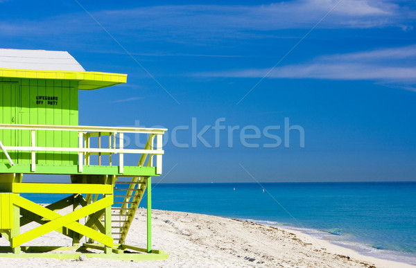 Foto stock: Cabina · playa · Miami · Florida · EUA · mar