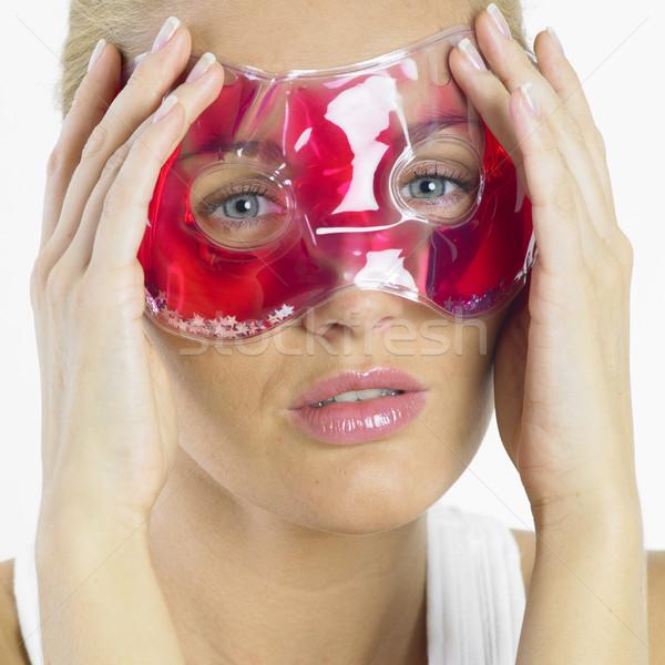 Foto stock: Mulher · máscara · beleza · jovem · sozinho · juventude