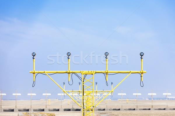 Landing lichten landingsbaan Praag Tsjechische Republiek Stockfoto © phbcz