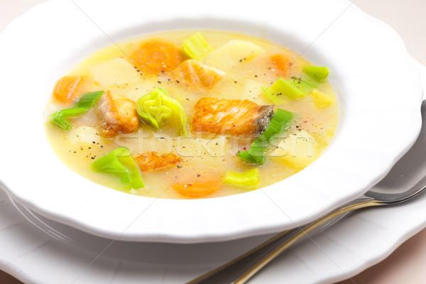 Aardappelsoep zalm plaat groenten lepel plantaardige Stockfoto © phbcz