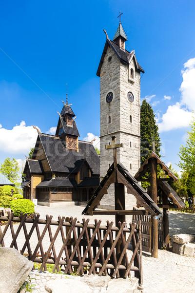 Kościoła Polska architektury wieża odkryty na zewnątrz Zdjęcia stock © phbcz