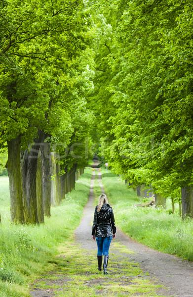 Kadın yürüyüş bahar geçit Stok fotoğraf © phbcz
