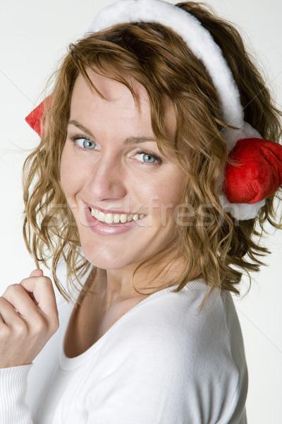 Stock fotó: Portré · mikulás · nő · piros · egyedül · női
