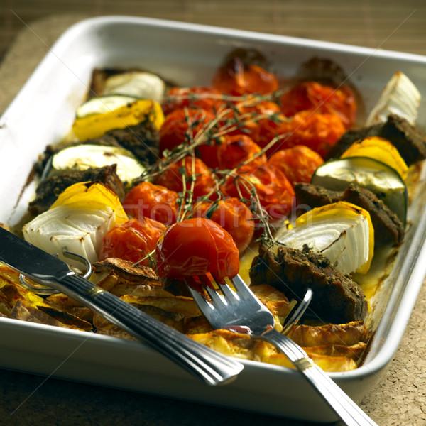 Grillowany pomidory ziemniaki żywności mięsa nóż Zdjęcia stock © phbcz