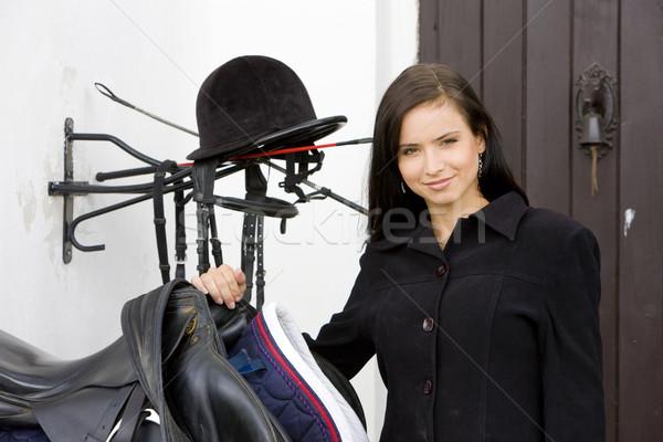 Retrato silla de montar mujer jóvenes sombrero Foto stock © phbcz