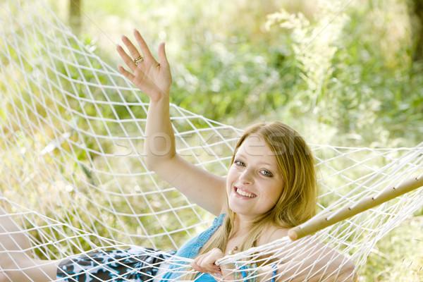 Mujer hamaca jóvenes solo jóvenes Foto stock © phbcz