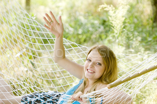 woman resting in hammock Stock photo © phbcz