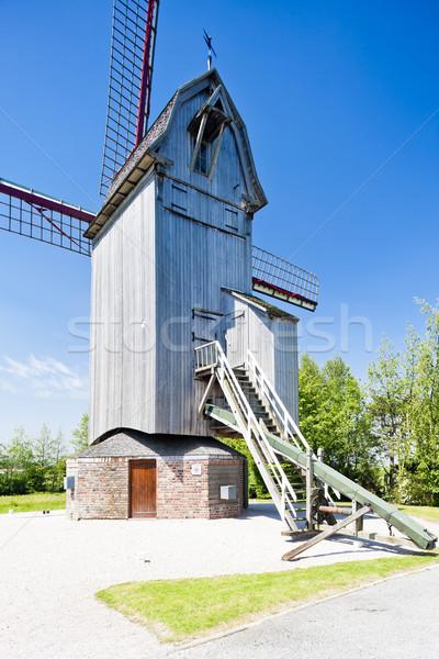 wooden windmill Drievenmeulen near Steenvoorde, Nord-Pas-de-Cala Stock photo © phbcz