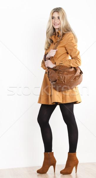 Сток-фото: Постоянный · женщину · пальто · модный · коричневый