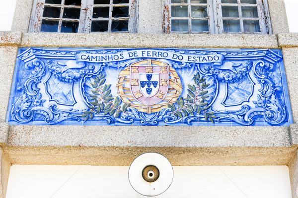 плитки железнодорожная станция Португалия синий Живопись архитектура Сток-фото © phbcz