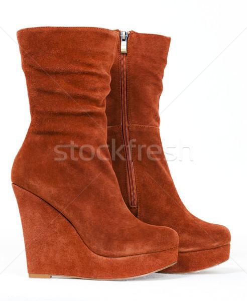 fashionable platform brown shoes Stock photo © phbcz