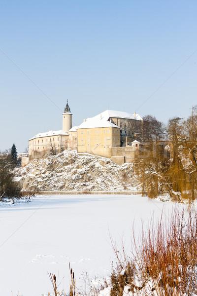 Castelo inverno República Checa neve rio arquitetura Foto stock © phbcz