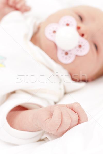 Stock photo: portrait of newborn baby girl