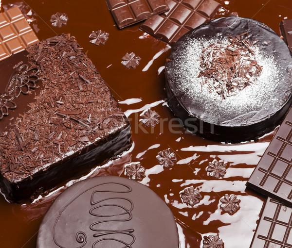 Natureza morta chocolate bolo bolos comida aniversário Foto stock © phbcz