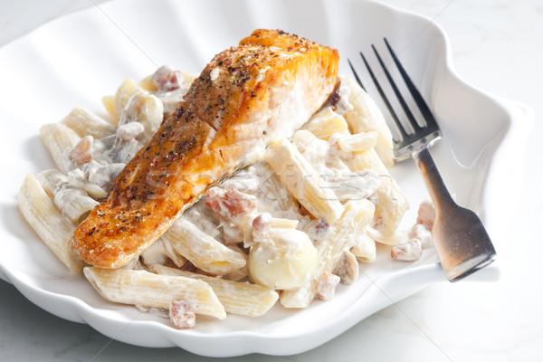 łososia pieprz kremowy makaronu żywności Zdjęcia stock © phbcz