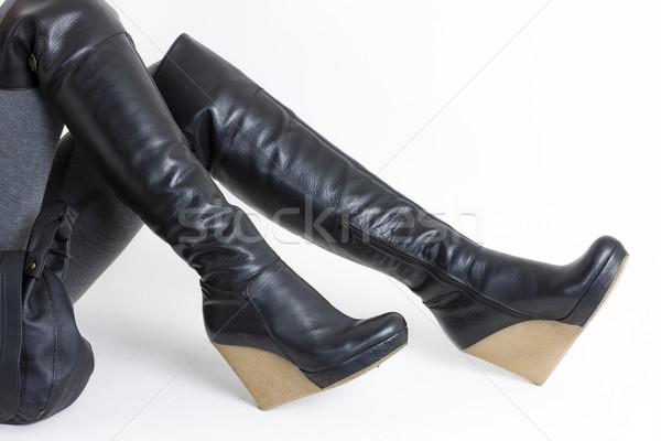 詳細 座って 女性 着用 プラットフォーム 黒 ストックフォト © phbcz