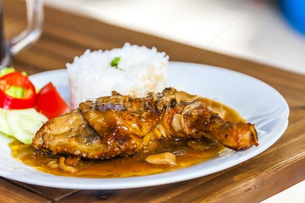 chicken with mushroom sauce and rice Stock photo © phbcz