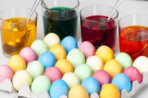 Naturaleza muerta huevos de Pascua Pascua huevo de Pascua colores objeto Foto stock © phbcz