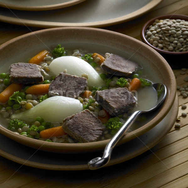 beef soup with vegetables and lentils Stock photo © phbcz