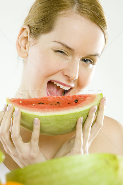 portrait of woman with melon Stock photo © phbcz