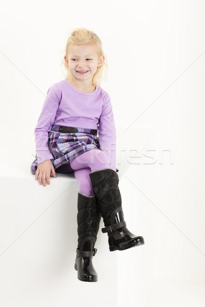 座って 女の子 着用 スカート 少女 子 ストックフォト © phbcz
