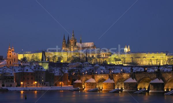 Prague Castle with Charles bridge in winter, Prague, Czech Repub Stock photo © phbcz
