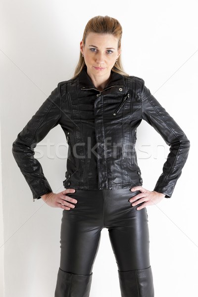 portrait of standing woman wearing black clothes Stock photo © phbcz