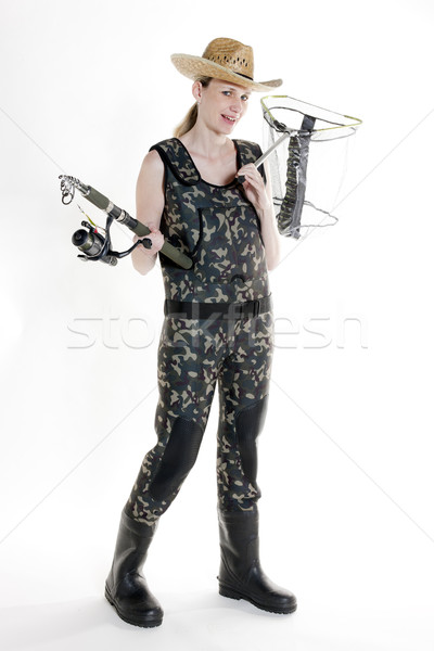 fisher woman with fishing rod and net in studio Stock photo © phbcz