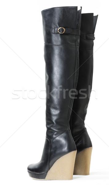 ファッショナブル プラットフォーム 黒 ブーツ スタイル オブジェクト ストックフォト © phbcz